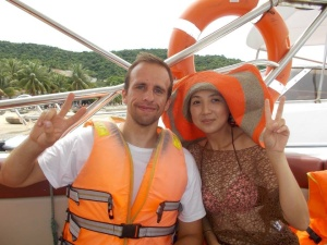 Chinese tourists - it wasn't my idea to do the peace sign!