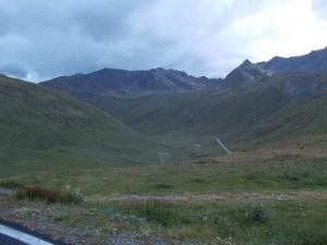 The mountain tops on Stelvio pass