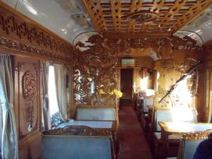 Mongolian dining car on transsiberian train
