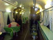 Russian dining car on Transsiberian train