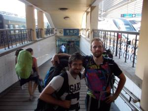 Our 'victory' photo from completing the Moscow-Beijing train non-stop